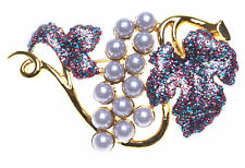 Kirks Folly Magic Grapes Pin Or Brooch-Goldtone, Faux Seed Pearls & Follydust