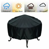 8Size Black Durable Round Fire Pit Cover Waterproof Grill BBQ Patio UV