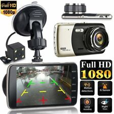 "4"" Dual Lens Camera HD 1080P 170°Car DVR Video Dash Cam Front Rear Recorder HO"