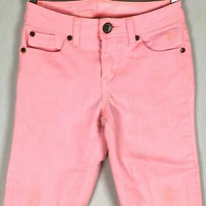 Justice Girls Jeans 12 Short 12S Neon Pink Stretch Straight Skinny Cuffed Pants