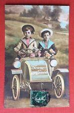 CPA. 1913. Automobile. Garçonnets. Bonne Année. Costume Marin.