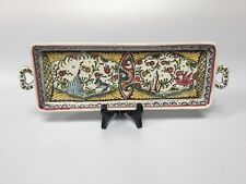 Vintage Portuguese Pottery Serving Tray Mid 20th Century Hand Painted
