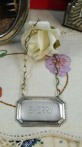 Vintage Sterling Silver Decanter Label : Sherry