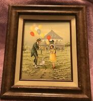 C. Carson Serigraph Oil Painting 12x16 Canvas Circus Clown Signed Framed Art