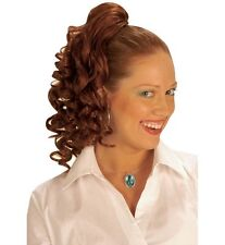 Femmes long red ginger curly extension de cheveux queue de cheval perruque 60s 70s 80s fancy dress
