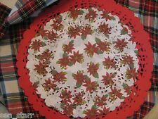 "12 pc 🎄 8"" Inch Poinsettia Red White Flower Lace Paper Doily Round Christmas"