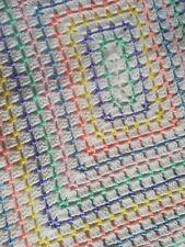 Crocheted Handmade Baby Blanket - 6 colour Rainbow Rectangle