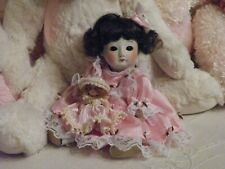 "Antique Bisque Oriental Doll 8"" w/Composition Body Open/Close Glass Eyes So Cute"