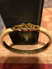 GUCCI Snake Skin Bangle Logo Bracelet ITALY MOD. DEP. 24 KT GOLD PLATED