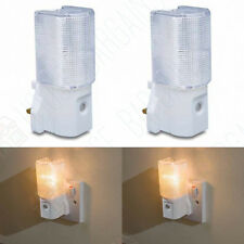 2 New Twin H17 Plug In LED Night Light Low Energy Dusk to Dawn Sensor Cool White