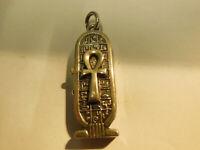 Boite pendentif en Argent Egypte décor de Hièroglyphes et Croix, Sarcophage