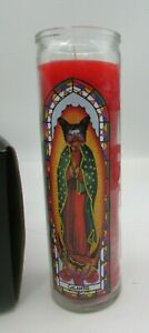 Galantis Glass Prayer Candles, 8 in. RED IN GLASS TALL CONTAINERS (Lot of 3)
