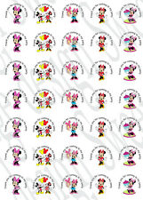 35 x Minnie Mouse inspired Labels 37mm Stickers Party bag sweet cones seals