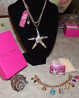 3 PC BETSEY JOHNSON GORGEOUS CRYSTAL STARFISH NECKLACE EARRINGS & CHARM BRACELET