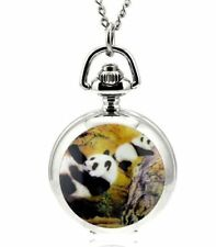 panda mother baby  mini necklace pendant pocket watch vintage style chain