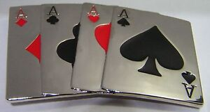 Glossy Chrome Finish Four Aces Poker Cards Hand Belt Buckle fix 2 own belt