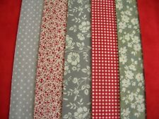 """12 JELLY ROLL STRIPS GREY & RED 44"""" X 2.5""""  100% COTTON PATCHWORK/QUILT GR6"""