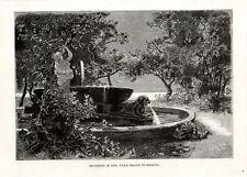 Stampa antica NAPOLI Villa Reale fontana nei giardini 1880 Old print
