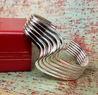 Mexico Solid 925 Sterling Silver Cuff Bracelet 46.9 Grams! Fine Jewelry