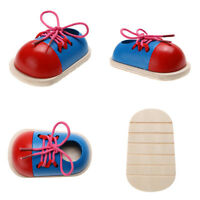 EE_ 1Pcs Kids Educational Wooden Lacing Shoe Toy Early Teaching Aids Puzzle Good
