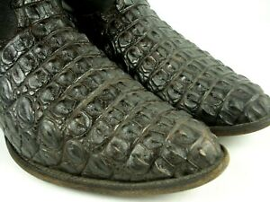 NOCONA Hornback Caiman Western Cowboy Exotic Leather Boots Black 12 EE
