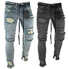 Mens Skinny Jeans Ripped Pants Slim Fit Denim Stretch Distressed Frayed Trousers