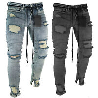 Fashion Men Skinny Denim Jeans Ripped Frayed Destroyed Pants Distressed Trousers