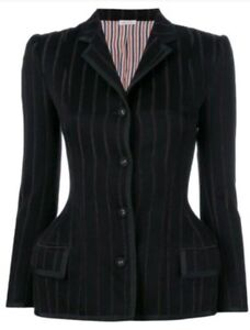 AUTHENTIC THOM BROWNE BANKER STRIPE WAISTED JACKET WITH GROSGRAIN RRP $5550 AU