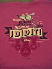 2016 Disneyland Dumbo Double Dare 19.3 Miles Dark Pink T-Shirt Large NEW