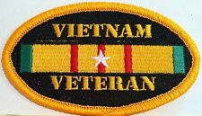 VIETNAM VETERAN Emblem Embroidered Iron-On Patch Biker Emblem Gold Border