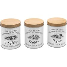 More details for 3 piece tea coffee sugar metal canister set