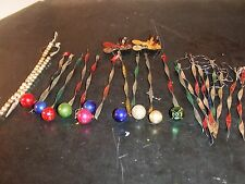 VINTAGE ASSORTED METAL HAND CRAFTED  ICICLES 10 W/BULBS,9 PLAIN,2 PEARL,2 CANDLE