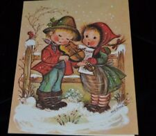 Vtg Eva Harta Wick UNUSED Greeting Card CHRISTMAS CAROLS VIOLIN/FIDDLE BOY GIRL