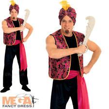 Sultan Aladdin Fancy Dress Mens Arabian Nights Genie Adult Costume + Turban New