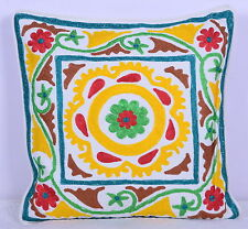 Indian Cotton Embroided Fabric Cushion Cover Hand Suzani Pillow Case 18'' Decor