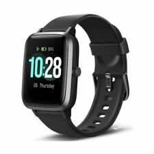 "Letsfit ID205L 1.3"" Touch Screen Smart Watch Fitness Tracker With Heart Rate Monitor Activity - Black"