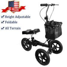 Knee Walker Scooter Roller All Terrain Foldable Shock Absorption Duty Crutches