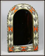 """Exquisite """"Moroccan Camel Bone & Silver Arched Mirror"""" (15.25"""" H x 10.25"""" W)"""