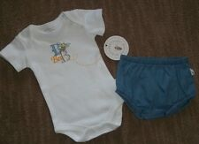 BURT'S BEES Many Bee Organic Cotton Chambray Outfit 2pc SET Sz 6 - 9 Months NEW