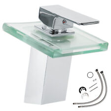 LED Bath tap waterfall chrome solid brass bathroom glass mixer basin water  new