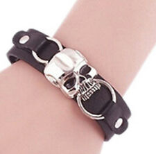 Punk/ Rock /Gothic/Biker Single Skull Unisex Black  Belt Bracelet