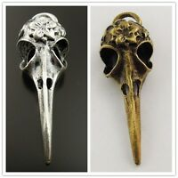 2X Antiqued Silver Bronze Tone Raven Skull Pendant Gothic Punk Jewelry  DIY