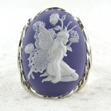 Butterfly Fairy Purple Cameo Ring .925 Sterling Silver Jewelry Size Select Resin