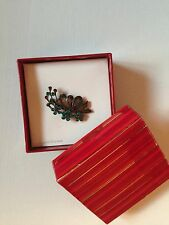 Leaf Floral Genuine Crystal Metal Turquoise Blue Brown Pin Brooches Jewelry+ Box