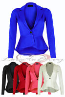 Womens Peplum Style Blazer Ladies New Fitted Dip Hem Detail Tailored Jacket