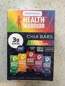 Health Warrior Chia Bars, 5 Flavor Best Seller Rainbow Variety Pack, Pack of 12