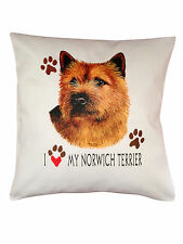 More details for norwich terrier heart breed of dog cotton cushion cover - perfect gift