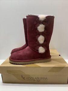 KOOLABURRA BY UGG Victoria Tall Genuine Zinfandel Shearling Trim Fur Boot Sz 7