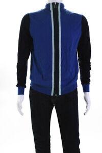 Paul Smith Mens Full Zipper Turtleneck Sweater Navy Blue Wool Size Large