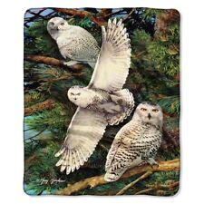 Snowy White Owl in The Wild American Heritage Woodland Raschel Throw blanket